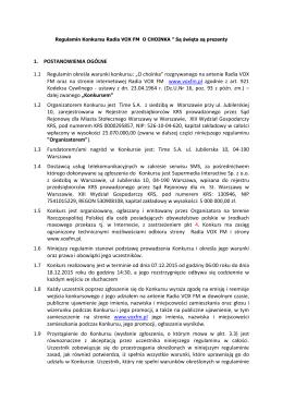 """O choinka"" rozgrywanego na antenie Radia VOX FM"