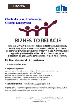 Oferta dla firm - konferencje, szkolenia, integracja