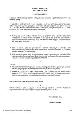 Uchwala Nr XIV/82/2015 z dnia 27 sierpnia 2015 r.