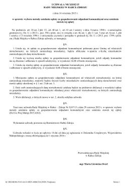 UCHWAŁA NR XII/82/15 RADY MIEJSKIEJ W RABCE