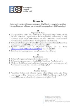 Regulamin - Europejskie Centrum Solidarności