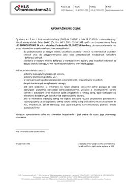 UPOWAŻNIENIE CELNE - HLS eurocustoms24
