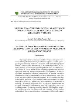 metoda wskaźnikowej oceny i klasyfikacji uwilgotnienia gleb