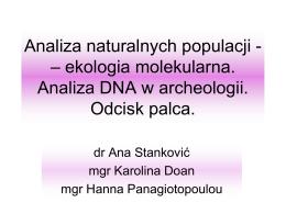 Analizy populacyjne. Genetyka w archeologii i kryminalistyce