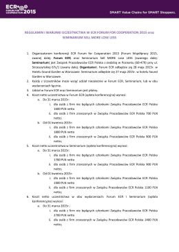 REGULAMIN I WARUNKI UCZESTNICTWA W ECR FORUM FOR COOPERATION 2015