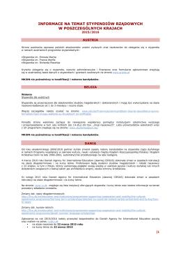 informace na temat stypendiów rządowych w poszczególnych krajach
