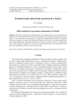 Zróżnicowanie zbiorowisk trawiastych w Polsce