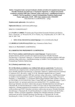 Kielce: Zorganizowanie i przeprowadzenie szkoleń zawodowych