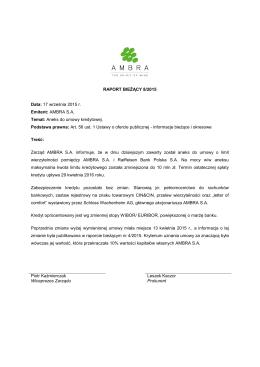17.09.2015 Raport bieżący nr 8/2015 - Aneks do umowy