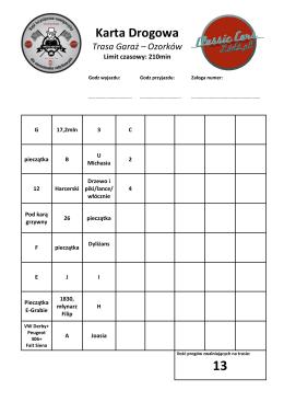 Karta Drogowa wzór