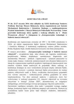 Komunikat dla Prasy - Instytut Mechanizacji Budownictwa i