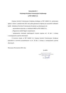 Komunikat KKPS PKP Cargo S.A.Nr 5 z dnia 29.09.2015