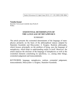 Natalia Kunat EXISTENTIAL DETERMINANTS OF THE LANGUAGE