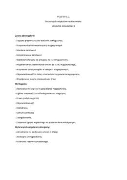 LOGISTYK-MAGAZYNIER Zakres obowiązków