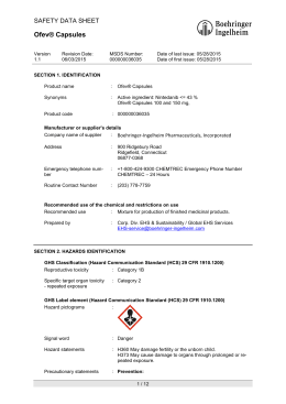 Ofev® Capsules - MSDS Listing for Boehringer Ingelheim Corporation