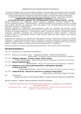 """""""DZIEDZICTWO KULTUROWE REGIONU W EDUKACJI"""" W kwietniu"""