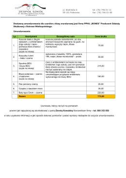 wykaz umundurowania z ceną jednostkową