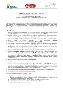Zasady rekrutacji i realizacji wyjazdów studentów - Erasmus