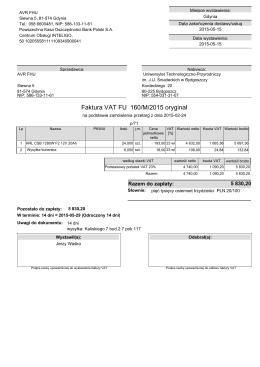 Faktura VAT FU 160/M/2015 oryginał