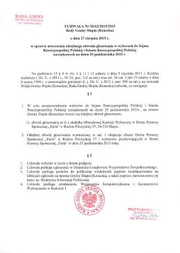 UCHWAŁA Nr XII62/2015/2015 Rady Gminy Slupia (Konecka)