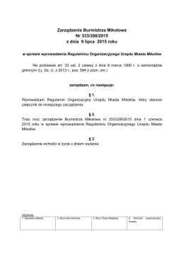 Zarządzenie Burmistrza Mikołowa Nr 333/306/2015 z dnia 9 lipca