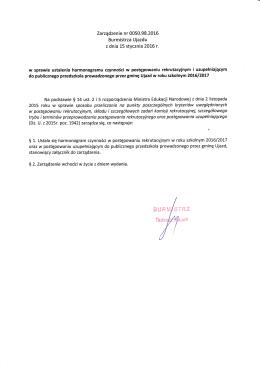 Zarządzenie Burmistrza w sprawie ustalenia harmonogramu
