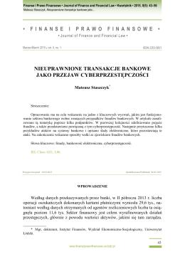 5. Mateusz Staszczyk – Nieuprawnione transakcje bankowe jako
