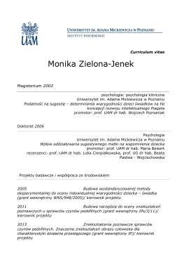 Monika Zielona-Jenek - Instytut Psychologii