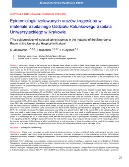 Epidemiologia izolowanych urazów kręgosłupa w materiale