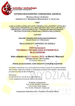 XXIII Sympozjum TECHNIKA I TECHNOLOGIA W PRZEMYŚLE