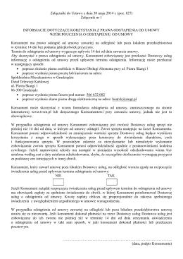 Informacje dotyczące korzystania z prawa odstąpienia od