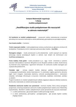 Studia podyp. - Politechnika Częstochowska