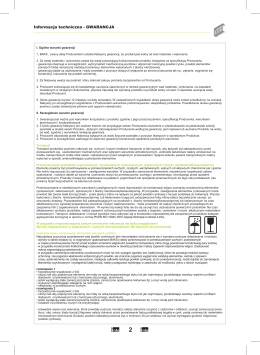 Informacja techniczna - GWARANCJA