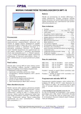 MIERNIK PARAMETRÓW TECHNOLOGICZNYCH MPT-10
