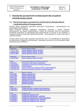 ARIT C Standardy Parametrów Technicznych Urządzeń