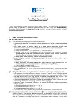 Informacja o zmianie statutu Pioneer Obligacji – Dynamiczna