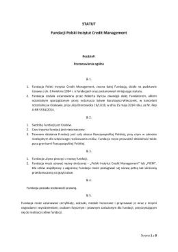 STATUT Fundacji Polski Instytut Credit Management