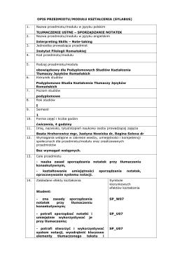 Tłumaczenie ustne - sporządzanie notatek