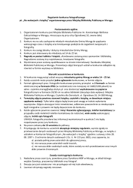 """Regulamin konkursu fotograficznego pt. """"Na wakacjach z książką"""