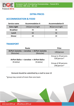 EXTRA PRICES ACCOMMODATION & FOOD TRANSPORT
