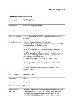 Członków - Centrum Koordynacji Szkolenia Operatorów Maszyn