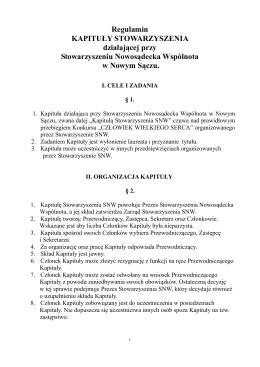 Regulamin kapituły - Stowarzyszenie Nowosądecka Wspólnota