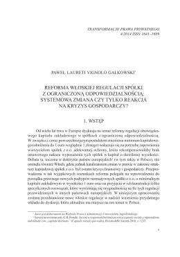 Reforma włoskiej regulacji spółki z ograniczoną odpowiedzialnością