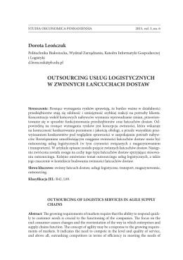 Dorota Leończuk - studia oeconomica posnaniensia