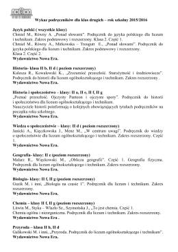 wykaz klasa 2 - II LO w Chełmie