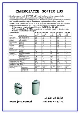 Parametry techniczne urządzeń zmiękczających serii ZM