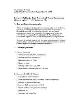 dr Jarosław W. Kłos Zakład Fizyki Powierzchni, Wydział Fizyki, UAM