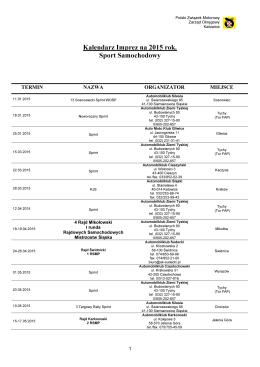kalendarz sportu samochodowego 2015