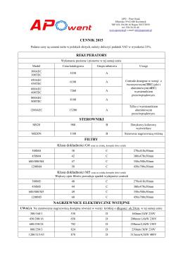 cennik 2015 rekuperatory sterowniki filtry nagrzewnice