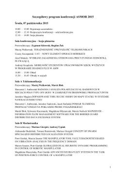 Szczegółowy program konferencji ASMOR 2015